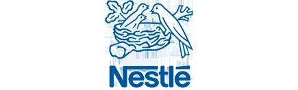 The brand logo of Nestlé.