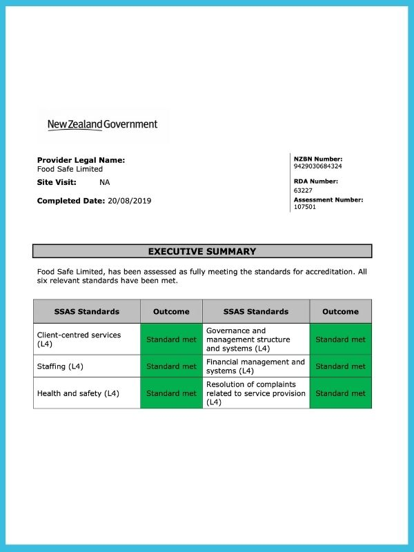 Food Safe New Zealand Government Accreditation